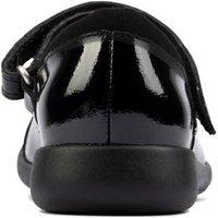M&S Clarks Girls Unisex Kids' Leather Riptape Mary Jane Shoes (Kid shoe 10-2.5) - 1.5F - Black Paten