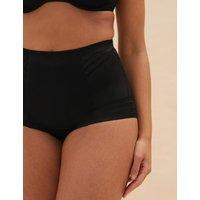 M&S Womens Firm Control Magicweartm Geometric Low Leg Knickers - 18 - Black, Black,Opaline