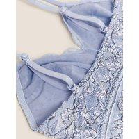 M&S Womens Three-Tone Lace Non Wired Bralette - 6 - Medium Blue, Medium Blue,Rich Amber