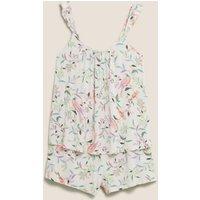 MandS Womens Floral Camisole Short Set - 6 - Oatmeal Mix, Oatmeal Mix