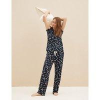 M&S Womens Viscose Animal Pyjama Set With Scrunchie - 8 - Navy Mix, Navy Mix