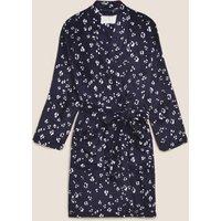 M&S Womens Fleece Animal Print Short Dressing Gown - XS - Navy Mix, Navy Mix