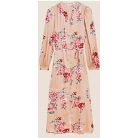 M&S Womens Rosie Floral Satin Long Nightdress - 6 - Pink Mix, Pink Mix