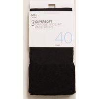 M&S Womens 3pk Opaque Knee Highs - 1SIZE - Black, Black