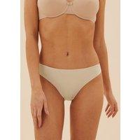 M&S Womens 3pk No VPL Low Rise Lace Thongs - 12 - Soft Opaline, Soft Opaline,White,Black