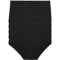 M&S Womens 5pk Cotton Lycra® Full Briefs - 16 - Black, Black,White
