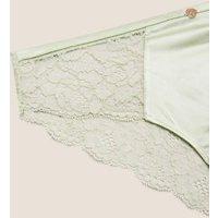 M&S Rosie Womens Silk & Lace Brazilian Knickers - 6 - Pistachio, Pistachio,Pale Opaline,Black