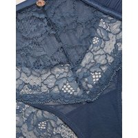 M&S Rosie Womens Pleat & Lace High Leg Knickers - 6 - Air Force Blue, Air Force Blue,Pistachio
