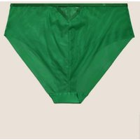 M&S Autograph Womens Allure Embroidered High Leg Knickers - 6 - Green Mix, Green Mix,Silver