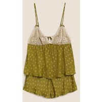 MandS Boutique Womens Satin Polka Dot Camisole Pyjama Set - 8 - Chartreuse, Chartreuse