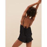 MandS Boutique Womens Satin Polka Dot Camisole Pyjama Set - 6 - Black, Black