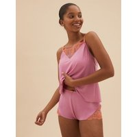 MandS Boutique Womens Blossom Embroidered Cami Set - 8 - Pink Mix, Pink Mix,Apricot Mix