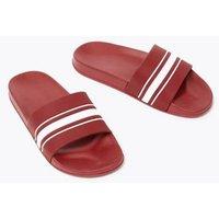 M&S Mens Stripe Sliders - 11 - Red, Red,White Mix