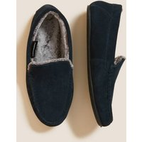 M&S Mens Suede Moccasin Slippers - 8 - Navy, Navy