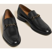 M&S Mens Leather Slip-On Loafers - 8.5 - Black, Black,Dark Brown