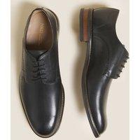M&S Mens Leather Derby Shoes - 6 - Black, Black,Dark Brown