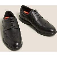 M&S Mens Wide Fit Airflextm Leather Brogues - 6 - Black, Black