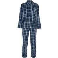 M&S Mens Cotton Checked Pyjama Set - Blue Mix, Blue Mix