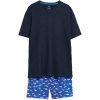M&S Mens Pure Cotton Goldfish Print Pyjama Set - Blue Mix, Blue Mix