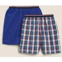 M&S Mens 2 Pack Pure Cotton Checked Pyjama Shorts - Blue Mix, Blue Mix