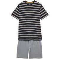 M&S Mens Pure Cotton Striped Pyjama Set - Navy Mix, Navy Mix