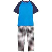 M&S Mens Pure Cotton Checked Pyjama Set - Blue Mix, Blue Mix
