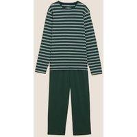 M&S Mens Pure Cotton Striped Pyjama Set - Green Mix, Green Mix