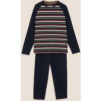 M&S Mens Pure Cotton Striped Pyjama Set - Multi, Multi