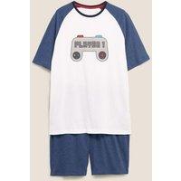 M&S Mens Pure Cotton Player 1 Print Pyjama Set - Multi, Multi