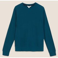 M&S Mens Supersoft Waffle Loungewear Top - M - Teal, Teal,Rust