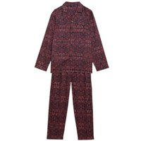 M&S Mens Pure Cotton Printed Pyjama Set - Burgundy Mix, Burgundy Mix