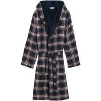 M&S Mens Fleece Supersoft Checked Dressing Gown - Burgundy Mix, Burgundy Mix