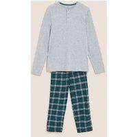 M&S Mens Brushed Cotton Checked Pyjama Set - Teal Mix, Teal Mix