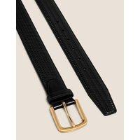 M&S Mens Leather Textured Belt - 34-36 - Black, Black,Brown