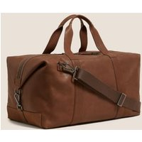 MandS Mens Premium Leather Weekend Bag - 1SIZE - Tan, Tan