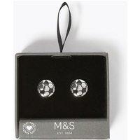 M&S Mens Football Cufflinks - 1SIZE - Silver, Silver