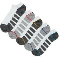 M&S Mens 5 Pack Cool & Freshtm Trainer Socks - 9-12 - White Mix, White Mix