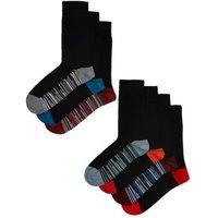 M&S Mens 7pk Cool & Freshtm Striped Sole Socks - 9-12 - Black Mix, Black Mix