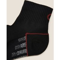 M&S Goodmove Mens 5pk Cushioned Quarter Socks - 9-12 - Black Mix, Black Mix,White Mix
