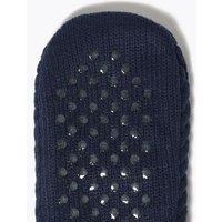 M&S Mens Fleece Chunky Slipper Socks - 6-8.5 - Blue Mix, Blue Mix