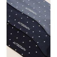 M&S Autograph Mens 3pk Premium Cotton Polka Dot Socks - 6-8.5 - Blue Mix, Blue Mix
