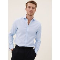 M&S Mens Tailored Fit Pure Cotton Shirt - 15.5 - Sky Blue, Sky Blue,Pink Sorbet,White