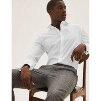 M&S Mens Regular Fit Poplin Easy Iron Shirt - 14.5 - White, White