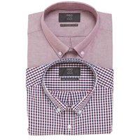 M&S Mens 2 Pack Regular Fit Cotton Oxford Shirts - 15.5 - Burgundy Mix, Burgundy Mix,Blue Mix