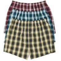 M&S Mens 3pk Pure Cotton Checked Woven Boxers - M - Multi, Multi