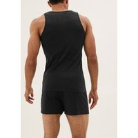M&S Mens 3pk Pure Cotton Sleeveless Vests - M - Black, Black,White