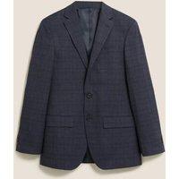 MandS Mens Regular Fit Check Jacket - 40LNG - Blue, Blue