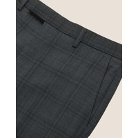 M&S Mens Tailored Fit Wool Check Trousers - 30REG - Charcoal Mix, Charcoal Mix