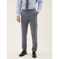 MandS Mens The Ultimate Blue Tailored Fit Trousers - 32SHT, Blue