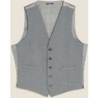 MandS Mens The Ultimate Grey Slim Fit Waistcoat with Stretch - SREG, Grey